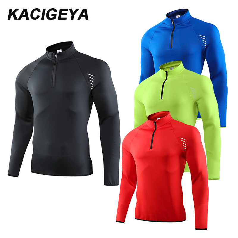 Long Sleeve Sports Shirt Stand Collar Men Quick Dry Outdoor Sweatshirt Breathable Gym Running Training T-Shirt  2019