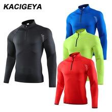 Camiseta deportiva de manga larga para hombre, sudadera de secado rápido para exteriores, camiseta transpirable de entrenamiento correr en gimnasio, 2019