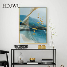 Nordic Golden Abstract Art Wall Canvas Painting Home Printing Posters Picture for Living Room DJ493