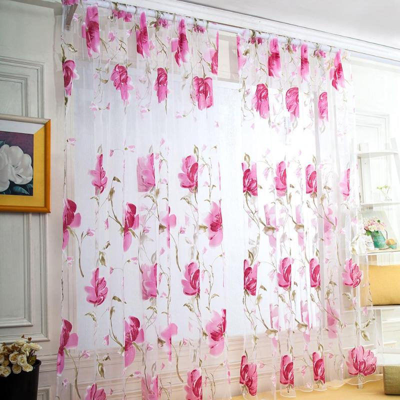 1x2M Tulle Curtains For Living Room Tulip Flower Sheer Curtain Pastoral Curtains For The Living Room Fabric Tulle Curtain
