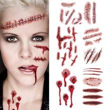 Autocollants de tatouage de plaie sanglante d'halloween, 6 pièces, faux tatouage temporaire, étanche, pour bricolage, décoration de fête d'halloween