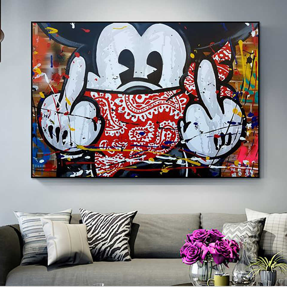 Modulaire Canvas Hd Prints Nordic Cartoon Leuke Mickey Mouse Pictures Wall Art Schilderijen Home Decor Posters Voor Woonkamer Frame