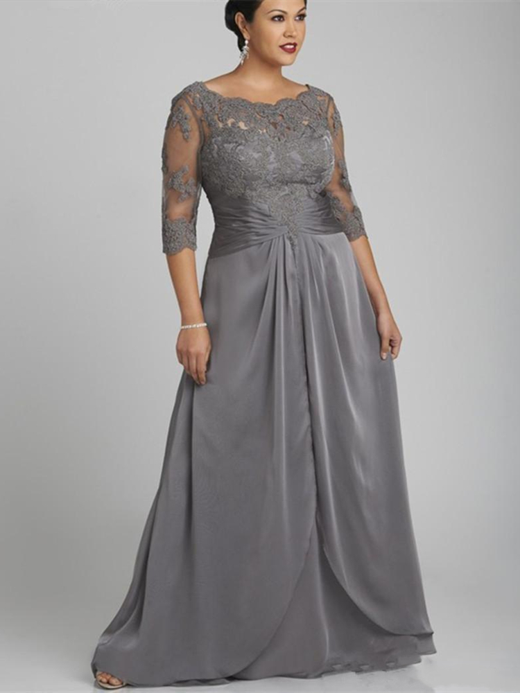 Plus Size Grey Lace Mother Of The Bride Dress Half Sleeve Scoop Neck Floor Length Ladies Evening Gowns Mother Of Groom Formal
