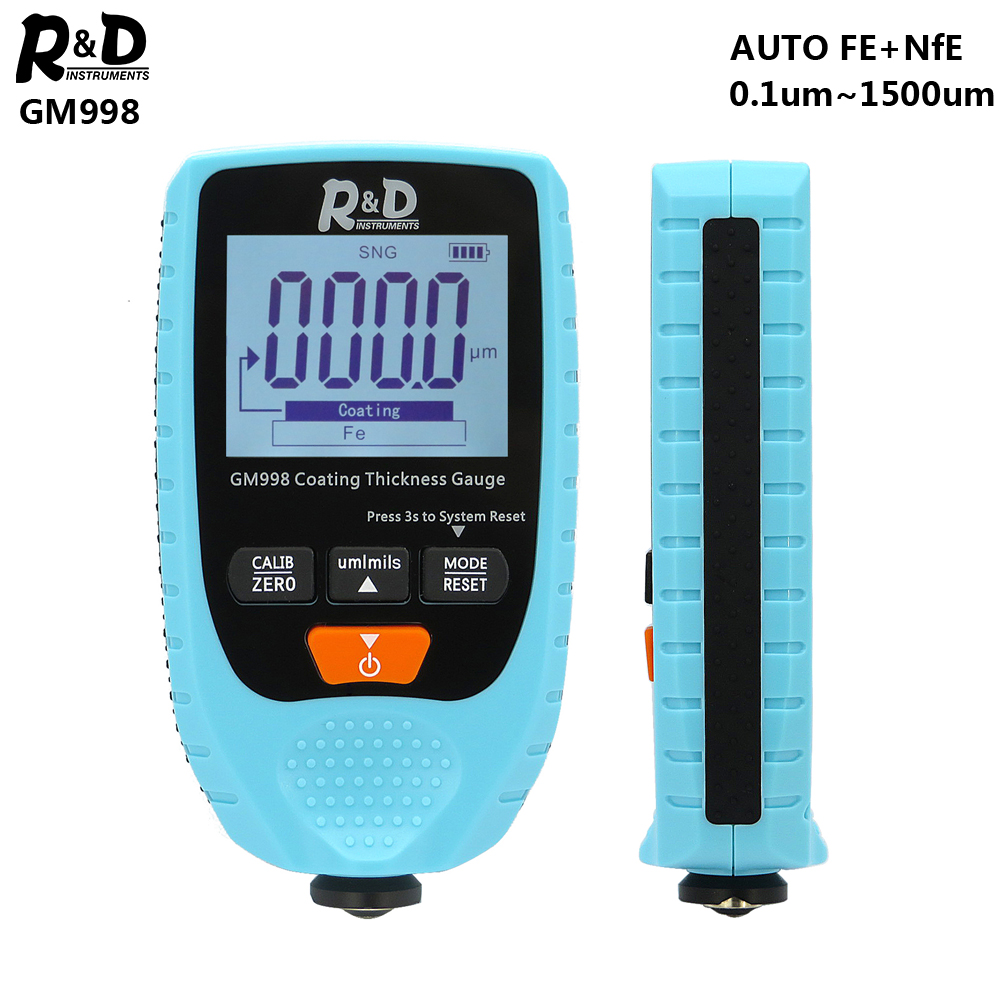 R&D GM998 Car Paint Coating Thickness Gauge Car Paint Electroplate Metal Coating Thickness Tester Meter 0-1500um Fe & NFe Blue