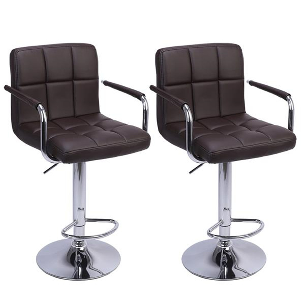 2pcs 60-80cm 6 Checks Round Cushion Bar Stools With Armrest Coffee Modern Bar Stools Bar Chair