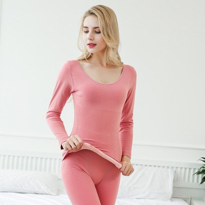 Autumn Winter Thermal Underwear Sets For Women Super Soft Velvet Thick Warm O-neck Slim Long Sleeve Tops + Bottoms B143 780g