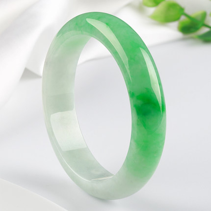 Zheru Jewelry Natural Burmese Jade Light Green 54mm-64mm Two-color Bracelet Elegant Princess Bracelet Send Mother To Girlfriend
