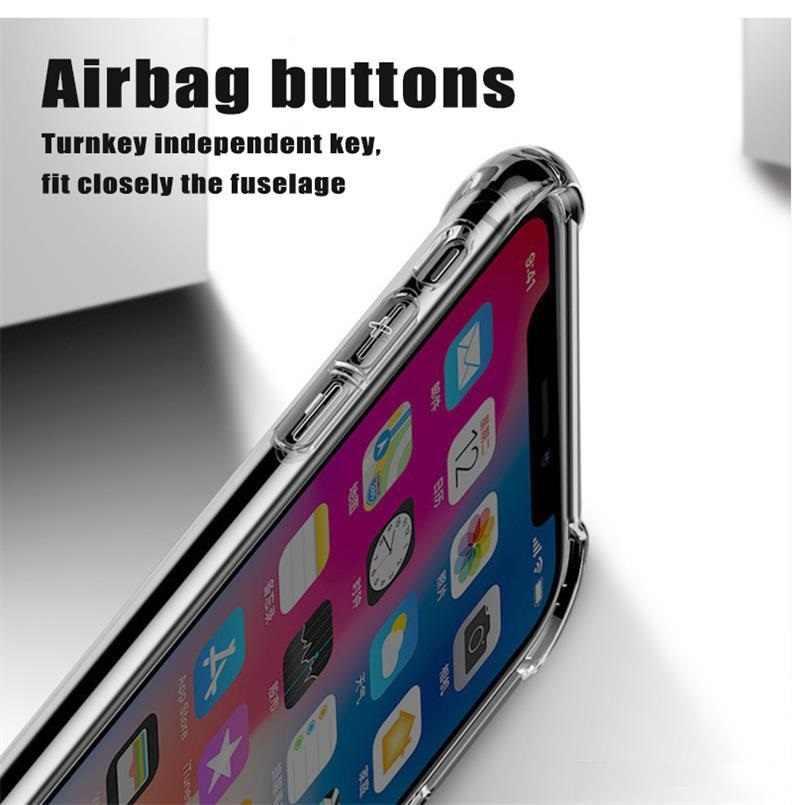 Ultra-sottile Molle di TPU Chiaro Caso di Cristallo per Il IPhone 11 PRO XR XS MAX 6 6S 7 8 più Trasparente Antiurto Airbag Della Copertura Del Respingente