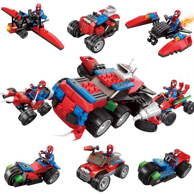 4 In 1 Spiderman Spider-man Far From Home Anti Venom Carnage Spider Gwen Man Batman Avengers Building Blocks Toys Figures