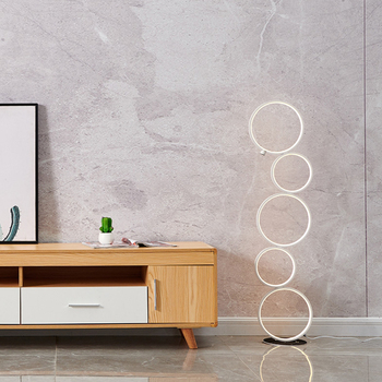Art-deco Ring Design Floor LED Lamp with Touch-switch