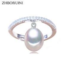 Женское кольцо из серебра 2020 пробы с натуральным пресноводным