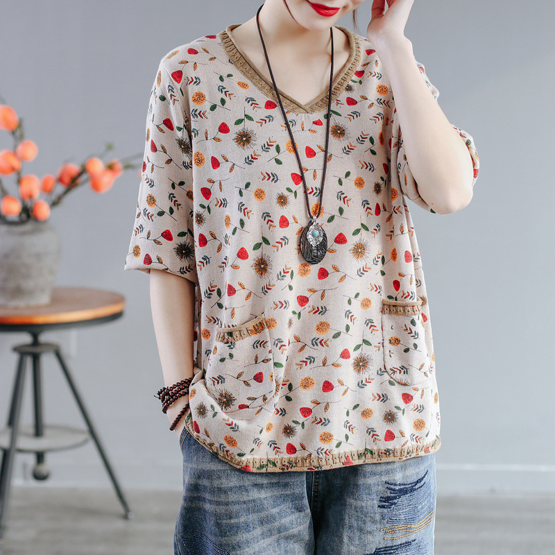 2020 Spring Summer Vintage Small Follower Printed Sweater V Neck Top Bottomed Retro Pullovers For Women Thin Comfortable