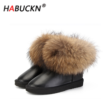 HABUCKN new Fashion Thick Natural Fox fur Snow Boots Women Boots 100% Real Leather Waterproof Winter Warm Snow Boots Ankle Boots 100% natural fur women boots winter warm shoes genuine sheepskin snow boots warm wool women ankle boots