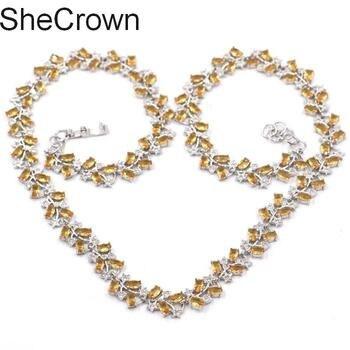 Big Heavy 38.5g Golden Citrine, Pink Kunzite White CZ Woman's Wedding Silver Necklace 19-19.5 inch 16x10mm