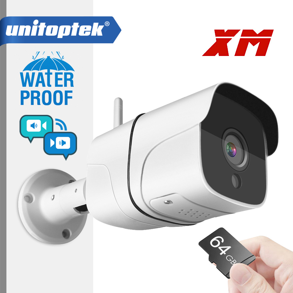 Wireless Wifi IP Camera 1080P Outdoor Bullet ONVIF SD Card Slot Two Way Audio 1920*1080 P2P Wireless Email Alert Night Vision
