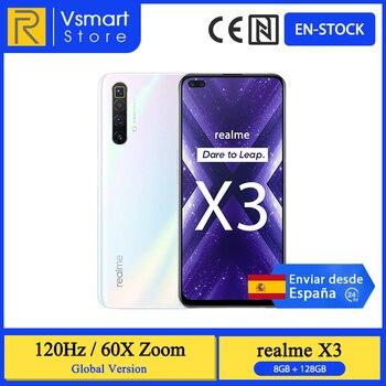 Перейти на Алиэкспресс и купить В наличии глобальная версия Realme X3 смартфон 8 ГБ 128 Snapdragon 855 + 6,6 120 Гц Экран 60X зум 64MP Quad проходит топливный фильтр грубой очистки 32MP Фронтальная ...