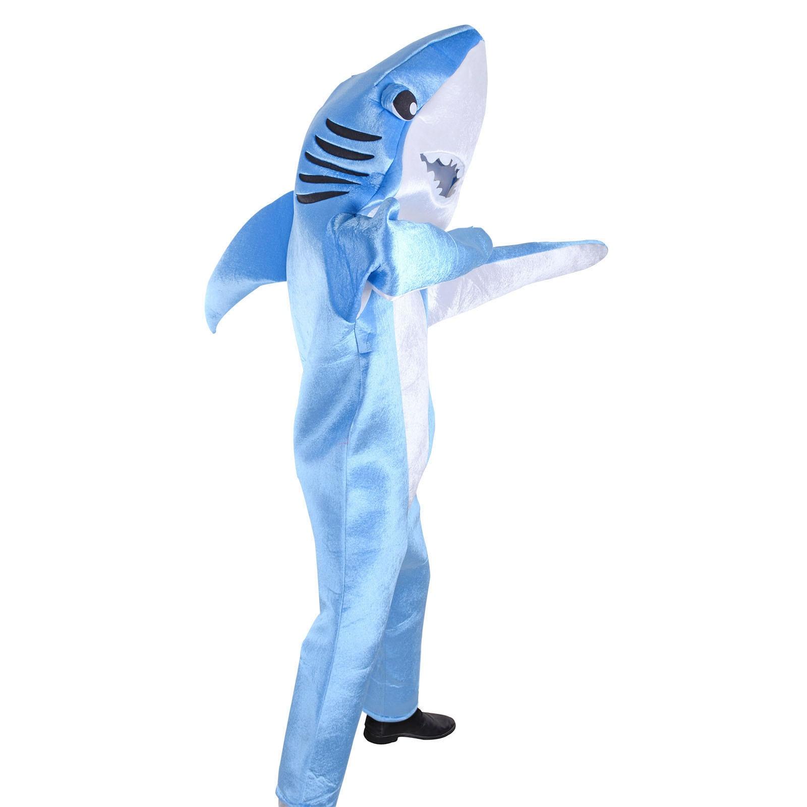 Costume requin bleu mascotte Animal de mer adulte drôle requin combinaison Costume de fête Halloween carnaval déguisements cadeau d'anniversaire