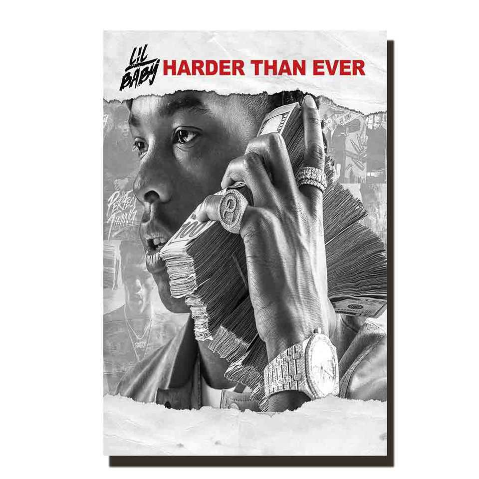 """20/"""" 24/"""" sizes Lil Baby Harder Than Ever poster art home decor photo print 16/"""""""
