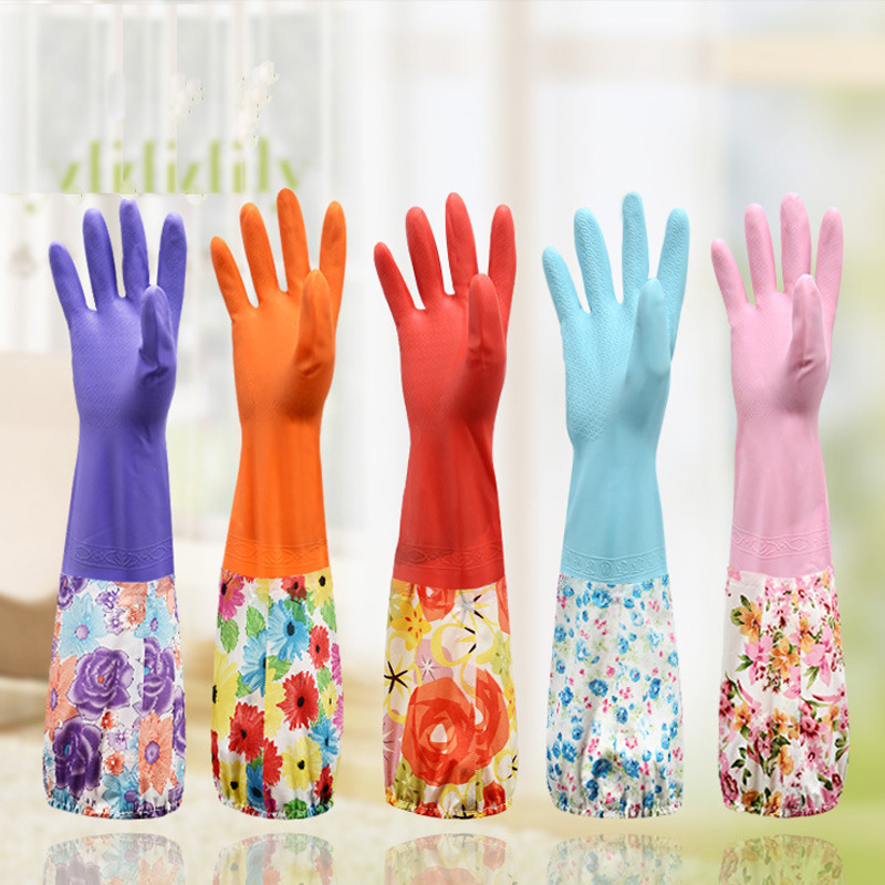 Kitchen Domestic Cleaning Wash Dishes Gloves Wash Dishes Waterproof Hand Guard Floral Embroidered Winter Warm Drawstring Top plu|Household Gloves| |  - title=