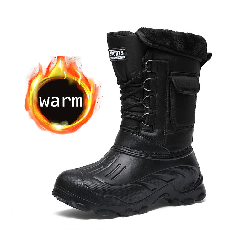 2019 Winter Camouflage Snow Men Boots Rain Shoes Waterproof With Fur Plush Warm Male Casual Mid-Calf Work Fishing Boot