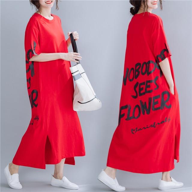 #1610 Red Midi Dress Women Short Sleeves Letter Printed Dress T-shirt Loose Cotton Side Split Casual Plus Size Dresses Summer 5
