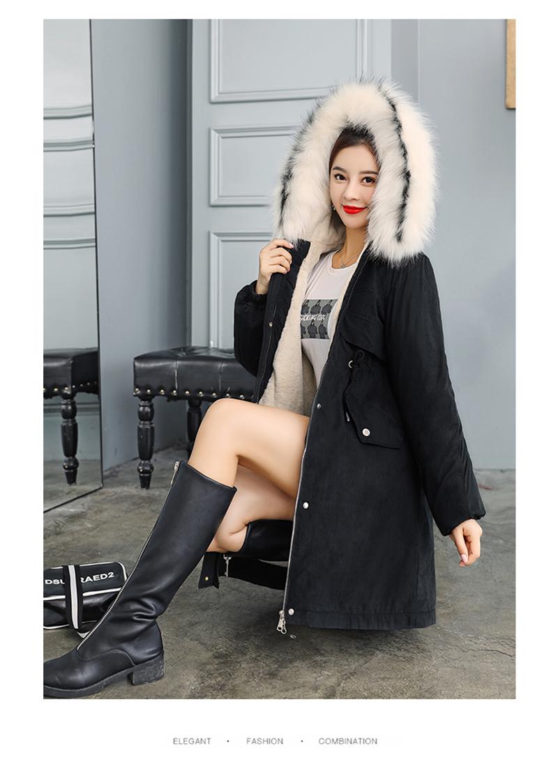 -30 градусов новый 2019 Для женщин зимняя куртка с капюшоном и меховой воротник Женская зимняя обувь Пальто Длинные парки с Меховая подкладка п... 29