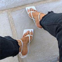 Women Sandals Vintage Square Toe High Heels Narrow Band Buckle Strap Summer Wome
