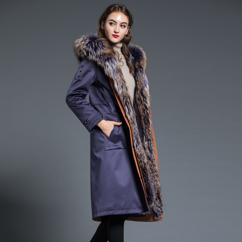Real Rex Rabbit Fur Parka Coat Women Natural Fox Fur Hooded Clothes 2020 Winter Raccoon Fur Jacket Long Warm Coats Hiver HNWPK36 image
