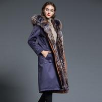 Real Rex Rabbit Fur Parka Coat Women Natural Fox Fur Hooded Clothes 2020 Winter Raccoon Fur Jacket Long Warm Coats Hiver HNWPK36
