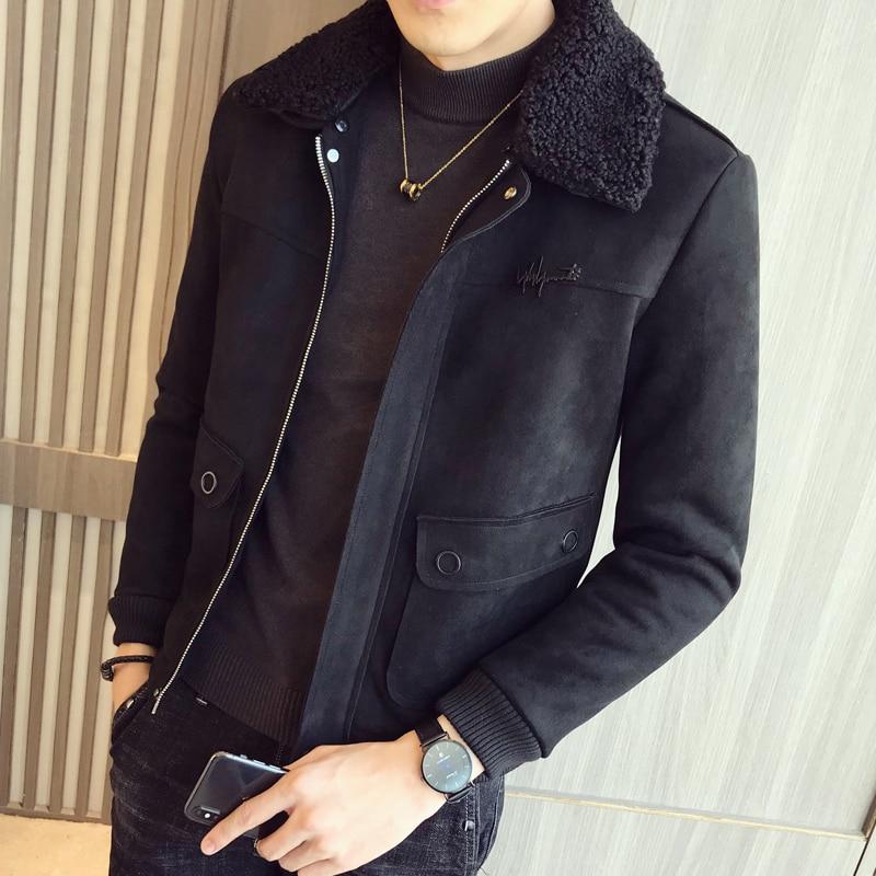 2019 Winter Jacket Men Suede Thicken Outwear Casual Slim Fit Coats Deerskin Bomber Homme Fur Collar