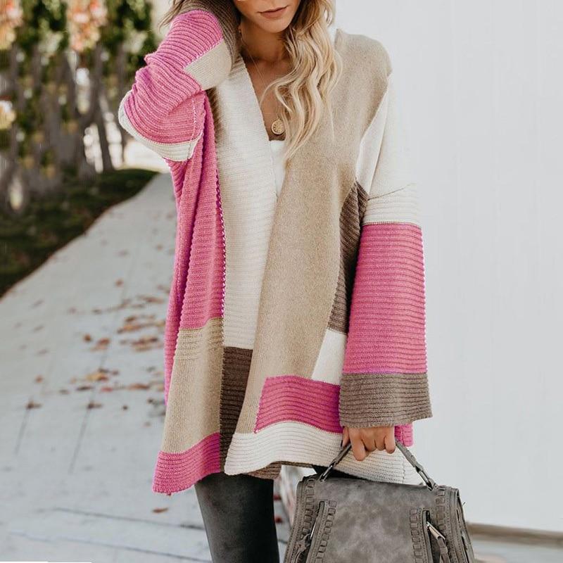 2020 Women knitted cardigan geometric stitching vintage long women sweater warm autumn winter loose cardigan coat female DR2246 (28)