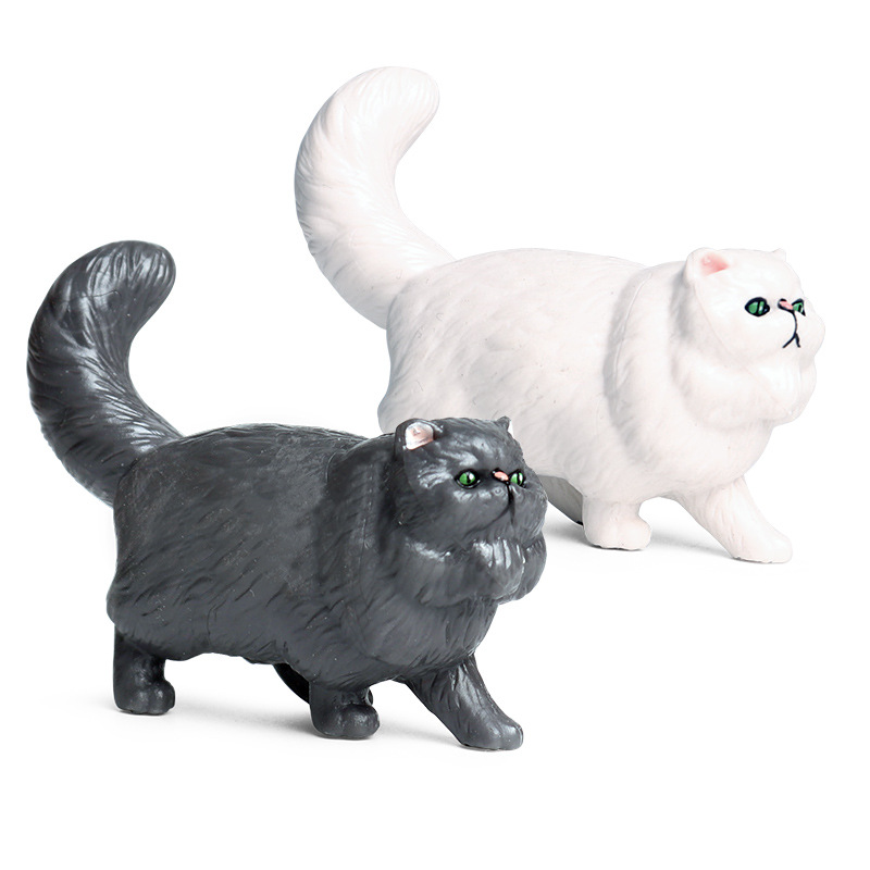 White/Black Persian Cat Model Action Figure Pets Animal Action Figures Collection PVC Children Cognitive Toys