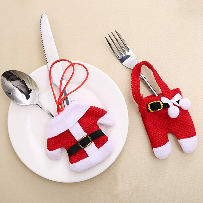Hot Sale Christmas Tableware Sack Gift Bag Santa Claus Decorative Knife Fork Tool Storage Bags Xmas Kitchen Dining Bar Supplies