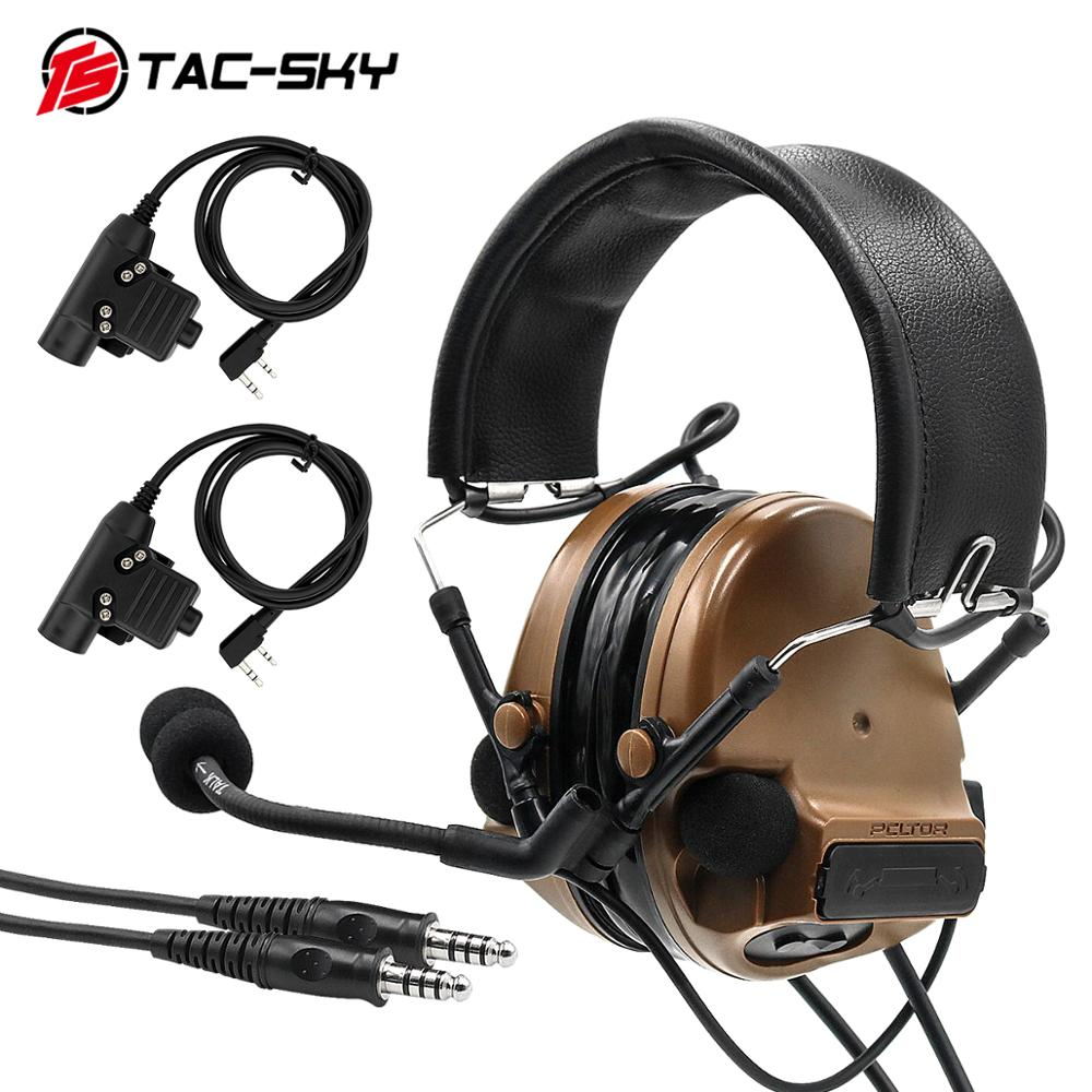 TAC-SKY COMTAC III Double Pass Silicone Earmuff Version Military Noise Reduction Pickup Tactical Headset And K Plug U94 PTT
