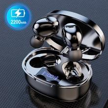 Tws fone de ouvido sem fio bluetooth 5.1 um par mini pequeno no ouvido alta fidelidade estéreo microfone fone com 2200mah caixa carregamento