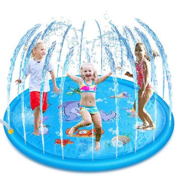68 Cal nadmuchiwane Splash Pad zwierząt wzór zraszacz Splash mata do zabawy dla dzieci impreza plenerowa basen zraszacz wody zabawki tanie i dobre opinie