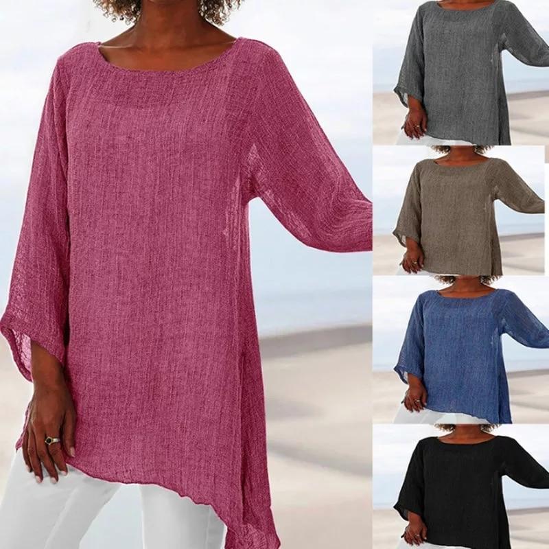Blusa de manga comprida feminina, top casual de manga longa plus size gola retrô fino de algodão e blusas