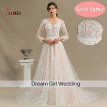 Свадебное платье с длинным рукавом круглым вырезом и кружевом
