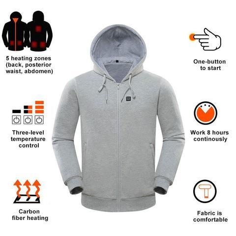 equitacao de carregamento usb aquecimento camisola moletom com capuz aquecida a temperatura controlavel velo moletom