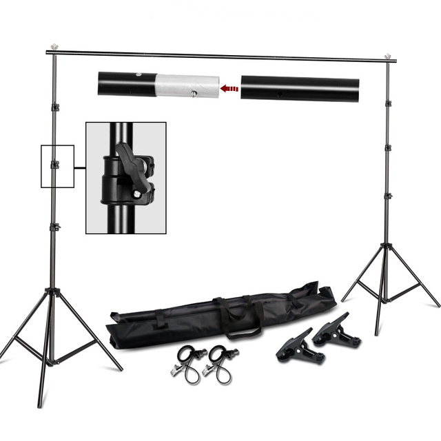 $ US $35.95 Photography 2*2M Photo Background Stand Support System Kit for Photo Studio Muslin Backdrops,Paper and Canvas with  Carrying Bag
