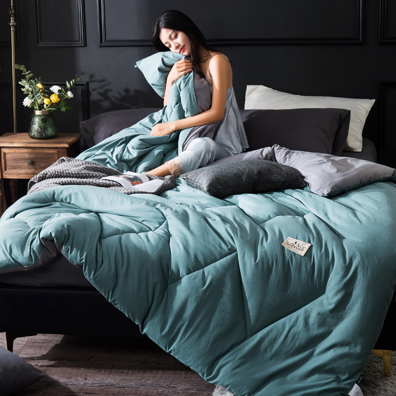 Winter Warm Quilt With Sleeves Winter Quilt Home Bedding Comforter Pure Color Keep Warm Winter Duvet With Filling Cover