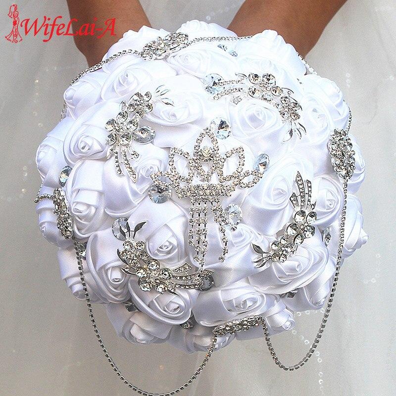 WifeLai-A White Stain Holding Flowers Handmade Wedding Flowers Bridal Bouquets Rhinestone Bridesmaid Bouquet Buque Noiva W2218