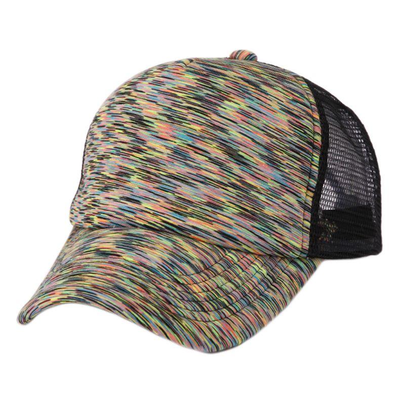 Унисекс летняя уличная бейсболка цветная полосатая сетчатая задняя Солнцезащитная шляпа B95F|Мужские бейсболки| | АлиЭкспресс