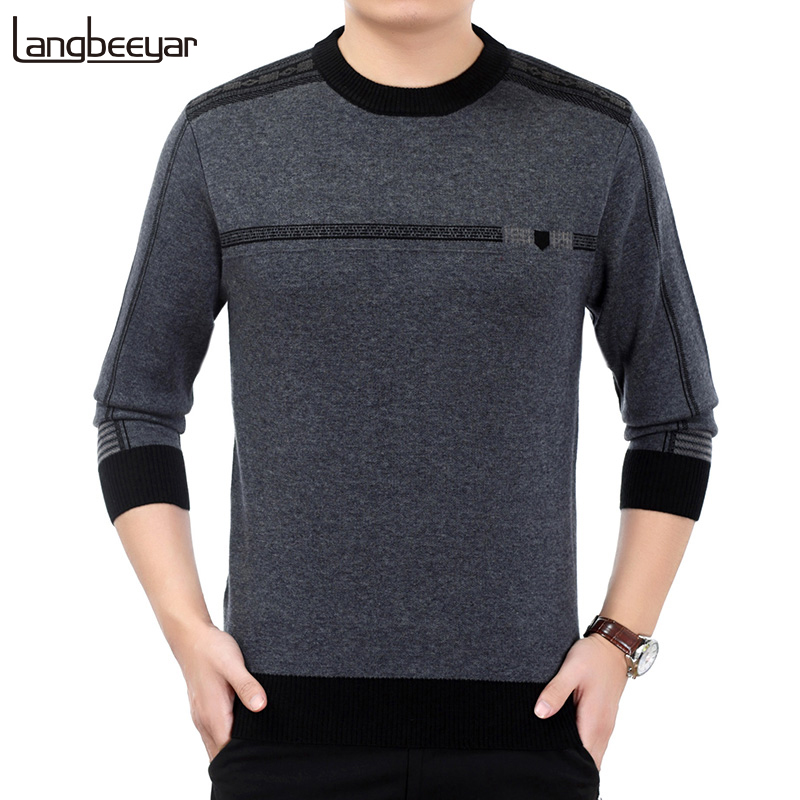 2019 New Fashion Brand Sweater For Mens Pullovers Thick Slim Fit Jumpers Knitwear Wool Autumn Korean Style Casual Mens Clothes