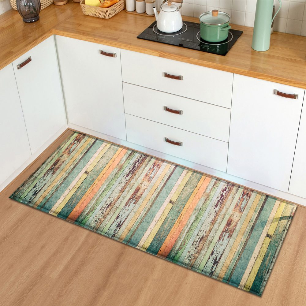 Modern Kitchen Mat Bedroom Entrance Doormat Wood grain Home Hallway Floor Decoration Living Room Carpet Bathroom Anti-Slip Rug image