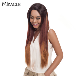 """Image 3 - Noble Hair Ombre Wig Colorful Heat Resistant Synthetic Hair Can Be Permed 32""""Inch Long Straight Lace Front Wigs For Black Women"""