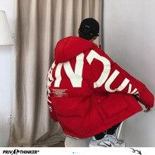 Privathinker 2020 עבה חם גברים חורף מעיל Parka מקרית Loose Harajuku Mens גדול מעיילי מעילי סלעית הדפסת אדום בגדים