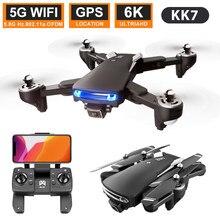 Kk7 pro mini zangão 4k profissional gps 6k quadcopter com câmera dupla visual wifi fpv drones rc helicóptero preservação da altura