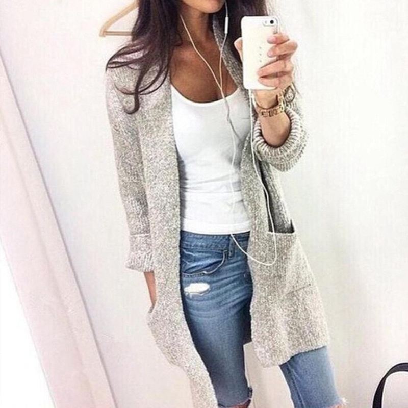 Fashion Casual Long Sweater Woman Winter Knitting Cardigan Long Sleeve  Women Jacket Big Pocket