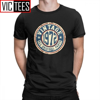Vintage 1972 All Original Parts T Shirt for Men Novelty Short Sleeve 100% Cotton T-Shirts O-Neck Funny Tees made in 1976 all original parts novelty birthday t shirt men clothes normal tees cotton crewneck t shirt